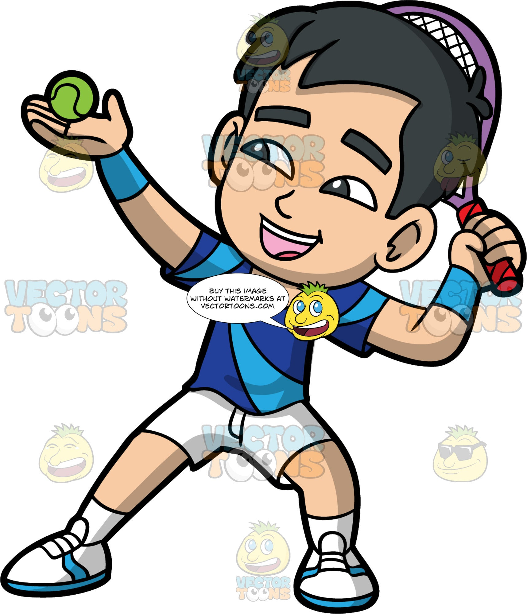 Young Kevin Getting Ready To Serve A Tennis Ball. A young Asian boy wearing white shorts, a blue t-shirt, and white tennis shoes, holds a tennis ball in his hand and a racquet behind his head, as he prepares to serve the ball