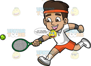 Young Gabriel Running To Hit A Tennis Ball. A young Hispanic boy wearing orange shorts, a white shirt, white tennis shoes, and an orange headband, runs towards a tennis ball and reaches his arm out to hit it with his racquet