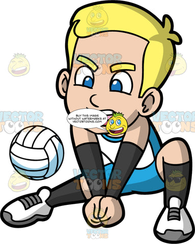 Bob Crouching Down To Hit A Volleyball. A young blonde boy wearing blue shorts, a white and blue tank top, black socks, white shoes, and black wrist guards, crouching down and putting his fists together as he prepares to hit a volleyball