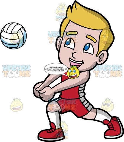 Young Matthew Having Fun Playing Volleyball. A young boy wearing red shorts, a red tank top, white socks, and red shoes, puts his fists together as he prepares to hit a volleyball