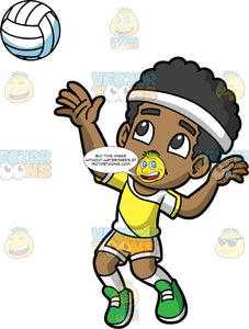 Young Jimmy About Serve A Volleyball. A young black boy wearing yellow with white shorts, a yellow with white shirt, a white headband, white socks, and green shoes, getting ready to serve a volleyball to the opposing team
