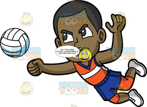 Young Calvin Bumping A Volleyball With His Fist. A young black man wearing blue shorts, an orange tank top, and white shoes, lunging forward and using his fist to hit a volleyball