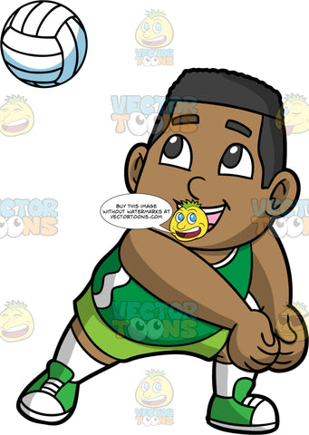 Young James Preparing To Hit A Volleyball. A young black boy wearing green shorts, a green tank top, white socks, and green shoes, turns his body to the side and puts his fists together as he gets ready to hit an approaching volleyball