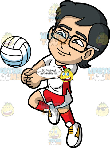 Young Simon Playing A Game Of Volleyball. A young Asian boy wearing white and red shorts, a white and red shirt, red socks, white shoes, and eyeglasses, puts his fists together in order to hit a volleyball coming towards him