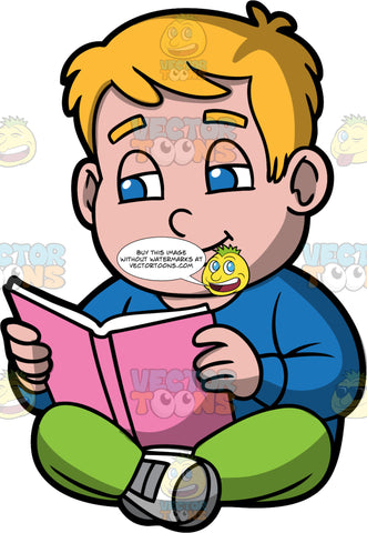 Young Sam Reading A Book. A chubby boy wearing green pants, a long sleeve blue shirt, and gray and white sneakers, sitting on the floor reading a book with a pink cover