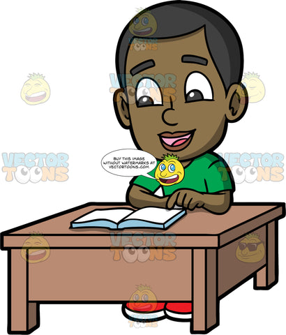Young Calving Reading A Good Book. A black boy wearing a green t-shirt, sitting down at a brown table and reading an interesting book