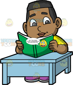 Young James Reading An Interesting Book. A black boy wearing a yellow shirt, and purple shoes, sitting down at a blue table and concentrating while reading a book with a green cover