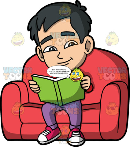 Young Kevin Sitting And Reading A Book. An Asian boy wearing purple pants, a red shirt, and red sneakers, sitting in a big red chair reading a book with a green cover