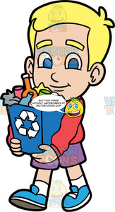Young Bob Carrying A Full Recycling Bin. A blonde boy wearing purple shorts, a long sleeve red shirt, and blue shoes, walking and carrying a blue recycling bin filled with plastic, glass, metal, and paper ready to be recycled