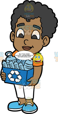 Young Jimmy Carrying A Recycling Bin Filled With Plastic Bottles. A black boy wearing white pants, an orange t-shirt, and blue shoes, holding a blue bin with a recycling logo on it filled with plastic containers