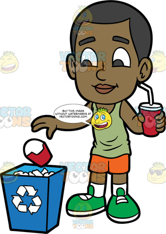 Young Calvin Throwing A Paper Container Into A Recycling Bin. A black boy wearing orange shorts, a light green tank top, and green shoes, throwing an empty paper container into a recycling bin