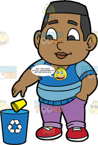 Young James Throwing A Paper Cup Into A Recycling Bin. A black boy wearing purple pants, a blue striped shirt, and red shoes, throwing a yellow paper cup into a blue recycling bin