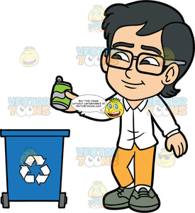 Young Simon Throwing A Soda Can Into A Recycling Bin. An Asian boy wearing yellow pants, a white shirt, gray shoes, and eyeglasses, throwing a metal pop can into a recycling bin