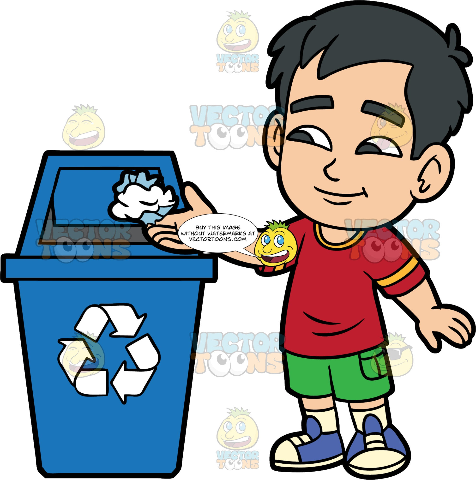 Young Kevin Throwing Paper Into A Recycling Bin. An Asian boy wearing green shorts, a red shirt, and blue shoes, throwing a piece of crumpled up paper into a large blue bin with a recycling logo on it