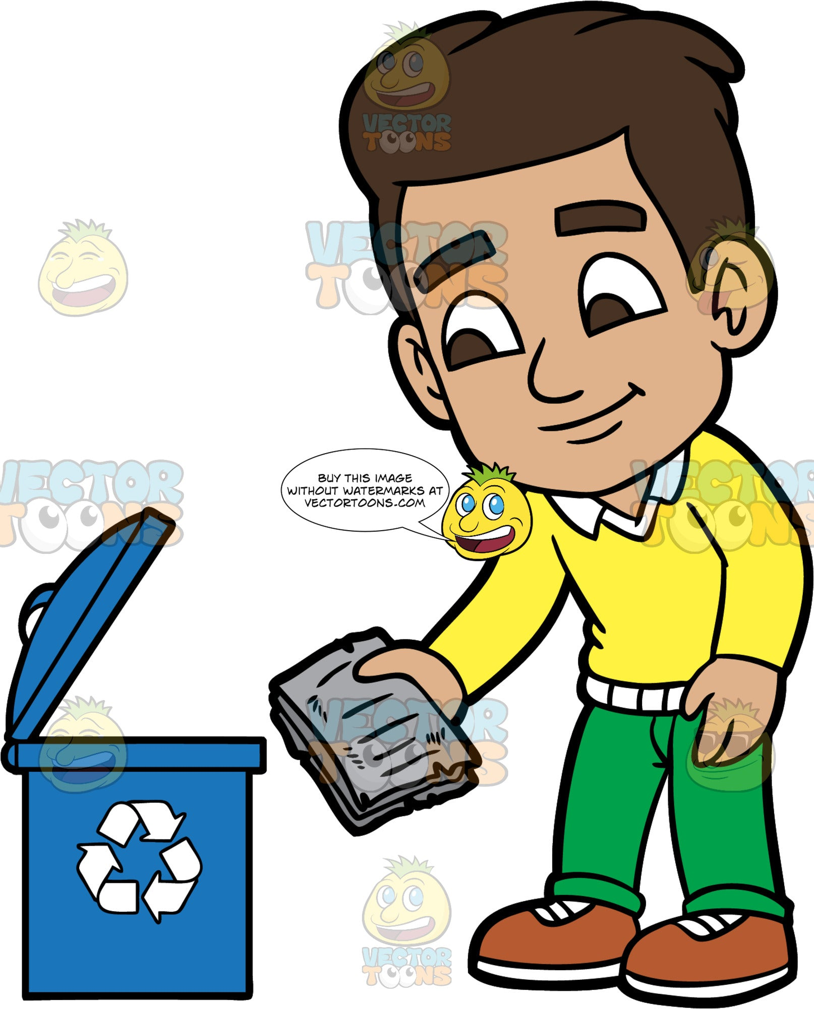 Young Gabriel Putting Some Newspapers Into A Recycling Bin. A Hispanic boy wearing green pants, a yellow sweater, and brown shoes, putting some old newspapers into a blue bin with a recycling logo on it