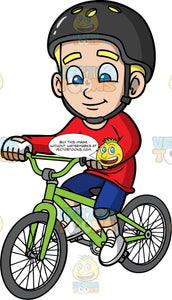 Young Bob Riding His Green Bike. A blonde boy wearing a black bike helmet, blue shorts, a long sleeve red shirt, white shoes, and white gloves, cruising around on his BMX bike