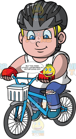 Young Sam Riding Around On His Bike. A chubby blonde boy wearing a dark gray bike helmet, blue jeans with rips in the knees, a white t-shirt, blue shoes, and red cycling gloves, riding his blue bike with a white basket in the front