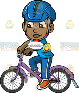 Young Calvin Having Fun Riding His Bike. A black boy wearing a blue bike helmet, blue track pants, a blue t-shirt, and orange sneakers, going for a ride on his purple bike