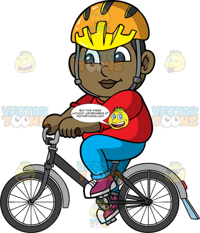Young James Riding His Bicycle. A black boy wearing a yellow helmet, blue pants, a red shirt, and purple sneakers, having fun going for a bike ride