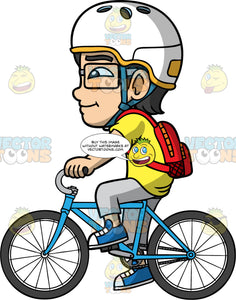 Young Simon Riding To School On His Bike. An Asian boy wearing a white bike helmet, gray pants, a yellow t-shirt, blue shoes, a red backpack, and eyeglasses, riding his blue bike to shcool