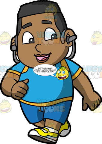 Young James Listening To Music While Jogging. A black boy wearing blue shorts, a blue with yellow t-shirt, and yellow running shoes, smiling and listening to music through headphones while out on a jog