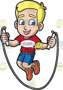 Young Bob Having Fun Skipping Rope. A young blonde boy wearing blue shorts, a red t-shirt, and orange shoes, smiles while jumping over his white jump rope