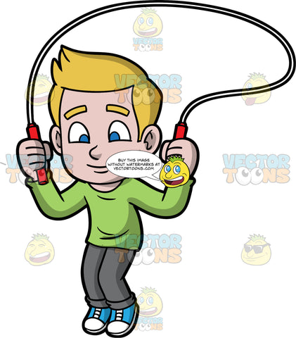 Young Matthew Skipping Rope. A young boy with dark blonde hair wearing dark gray pants, a long sleeve green shirt, and blue sneakers, having fun playing with his jump rope