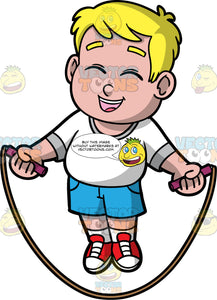 Young Sam Happily Jumping Rope. A chubby blonde boy wearing blue shorts, a white t-shirt, and red shoes, laughs and closes his eyes while skipping over his jump rope
