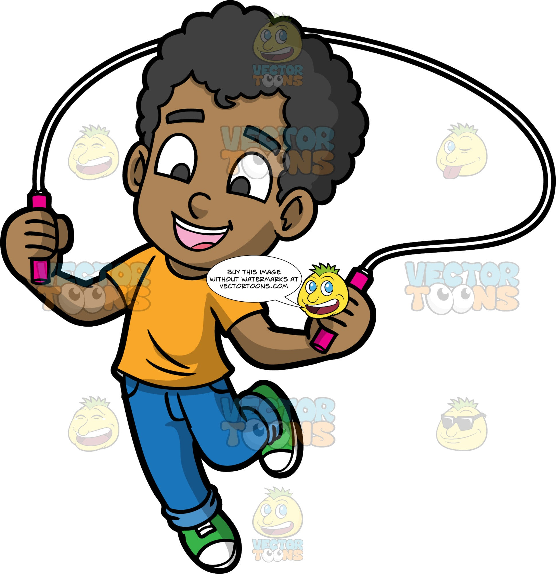 Young Jimmy Jumping Rope. A cute black boy wearing blue jeans, an orange t-shirt, and green sneakers, smiles as he jumps over his skipping rope