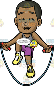 Young Calvin Playing With His Jump Rope. A young black boy wearing purple shorts, a gray tank top, and yellow running shoes, smiles and closes his eyes while skipping rope