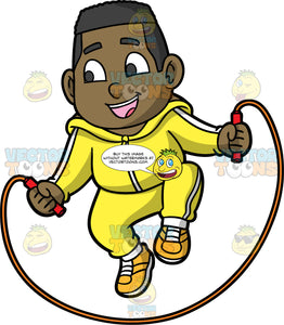 Young James Playing Jump Rope. A young black boy wearing a yellow track suit and yellow running shoes, smiles as he jumps over a skipping rope