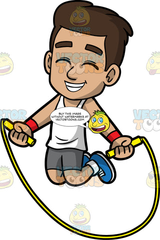 Young Gabriel Having Fun Jumping Rope. A young Hispanic boy wearing dark gray shorts, a white t-shirt, and blue sneakers, smiling and closing his eyes while jumping over his skipping rope