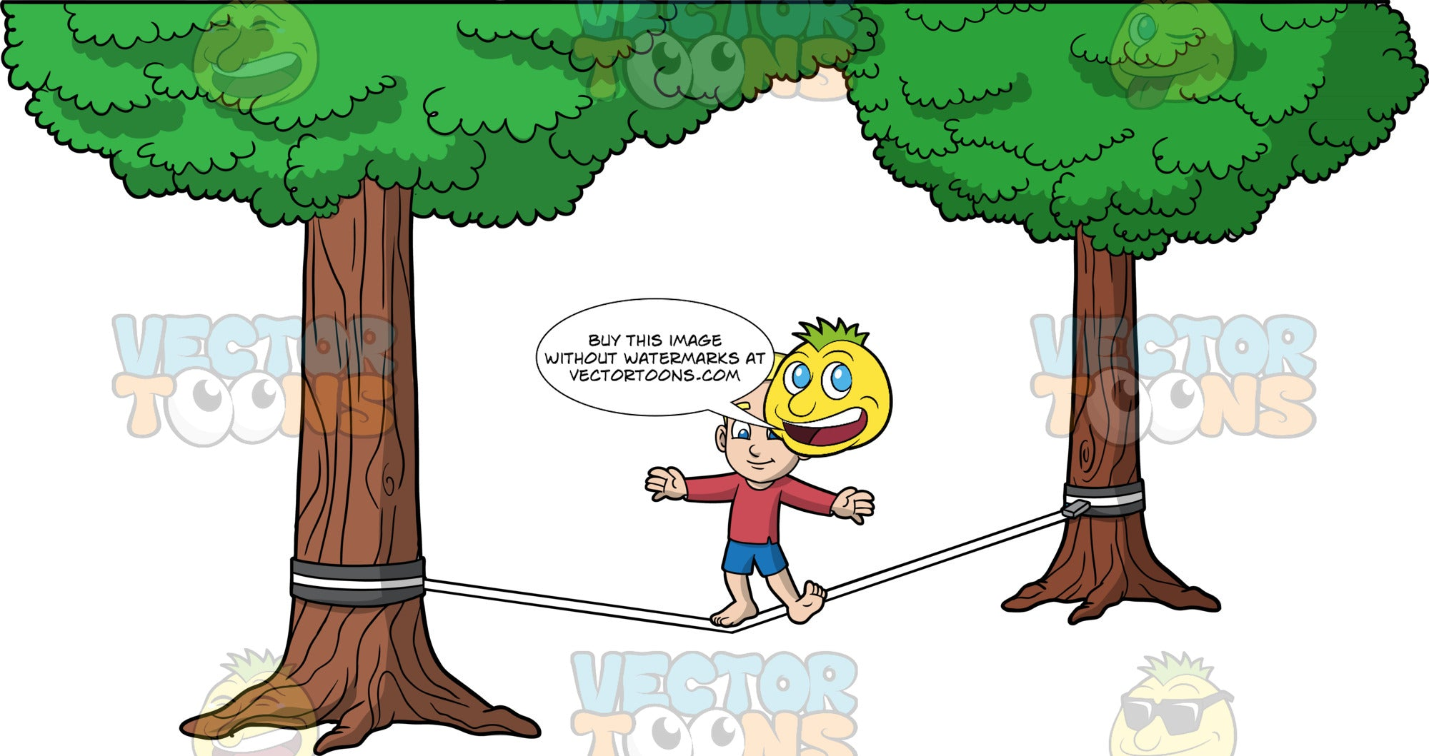 Young Bob Trying To Balance On A Slackline. A young blonde boy wearing blue shorts and a long sleeve red shirt, balancing on one foot as he tries to make his way across a slackline tied between two trees