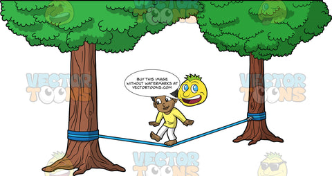 Young Jimmy Slacklining In The Park. A young black boy wearing white pants and a long sleeve yellow shirt, balances on one foot while trying to walk across a slackline tied between two trees