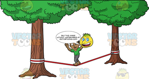 Young Calvin Trying To Walk Across A Slackline. A young black boy wearing dark gray pants and a green t-shirt, holding his arms up as he tries to keep his balance while walking across a slackline