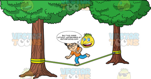 Young Simon Balancing On A Slackline. A young Asian boy wearing blue pants, an orange shirt, and eyeglasses, trying to balance on a slackline as he makes his way across to the other side
