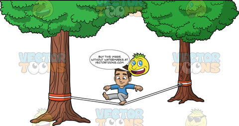 Young Gabriel Doing A Trick On A Slackline. A young Hispanic boy wearing gray pants and a long sleeve blue shirt, bending one knee and kicking his other leg straight out in front of him while balancing on a slackline
