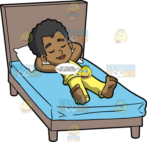 Young Jimmy Sleeping On His Back. A black boy wearing yellow pajamas sleeping on his back with his head on a white pillow, on top of a mattress with a blue sheet