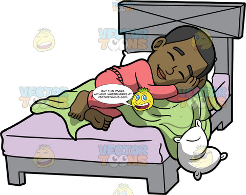 Young Calvin Sleeping In His Bed. A black boy wearing coral pajamas, sleeping soundly in his bed, lying on his side on top of a green blanket and mattress with a lavender sheet