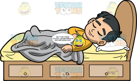 Young Kevin Asleep In His Bed. An Asian boy wearing a dark yellow pajama top, lying on his back in his bed, underneath a gray blanket and on top of a mattress with a yellow sheet on it