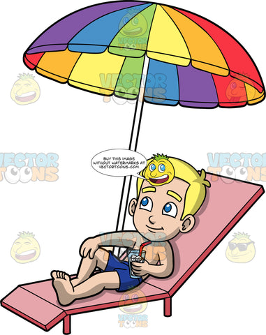 Young Bob Sunbathing On A Summer Day. A blonde boy wearing dark blue swim trunks, lying on a lounge chair under a rainbow coloured umbrella holding a cold drink in his hand