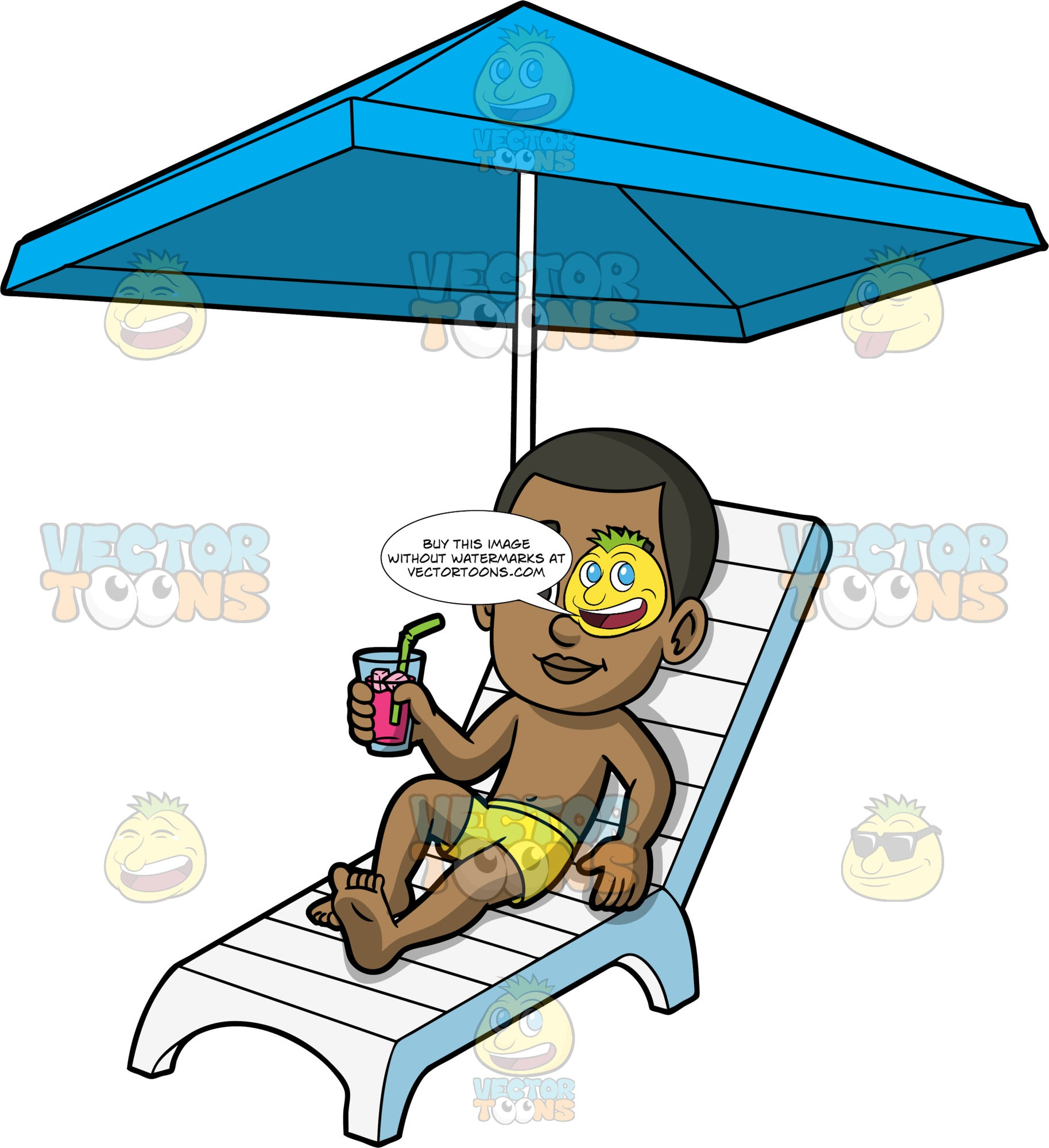Young Calvin Relaxing By The Pool. A young black boy wearing yellow swim trunks, lying on a white lounge chair under a blue umbrella, holding a cold drink in one hand and enjoying the nice weather