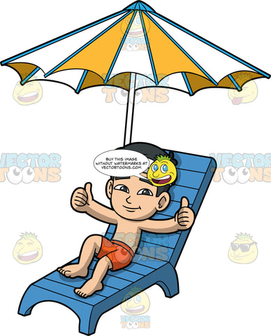 Young Kevin Lying In The Sun. An Asian boy wearing orange swim trunks and a white sun visor, lying on a blue lounge chair under a yellow and white umbrella, smiling and giving the thumbs up