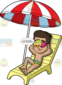 Young Gabriel Lying Outside On A Hot Sunny Day. A Hispanic boy wearing a green bathing suit and sunglasses, lying on a yellow lounge chair under a red and white umbrella, smiling and soaking up the sun