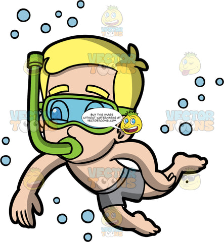 Young Bob Snorkeling. A blonde boy wearing gray swim trunks swimming underwater with a snorkel in his mouth