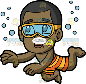 Young Calvin Holding His Breath Underwater. A black boy wearing orange and yellow striped swim trunks and yellow goggles, swimming underwater and holding his breath