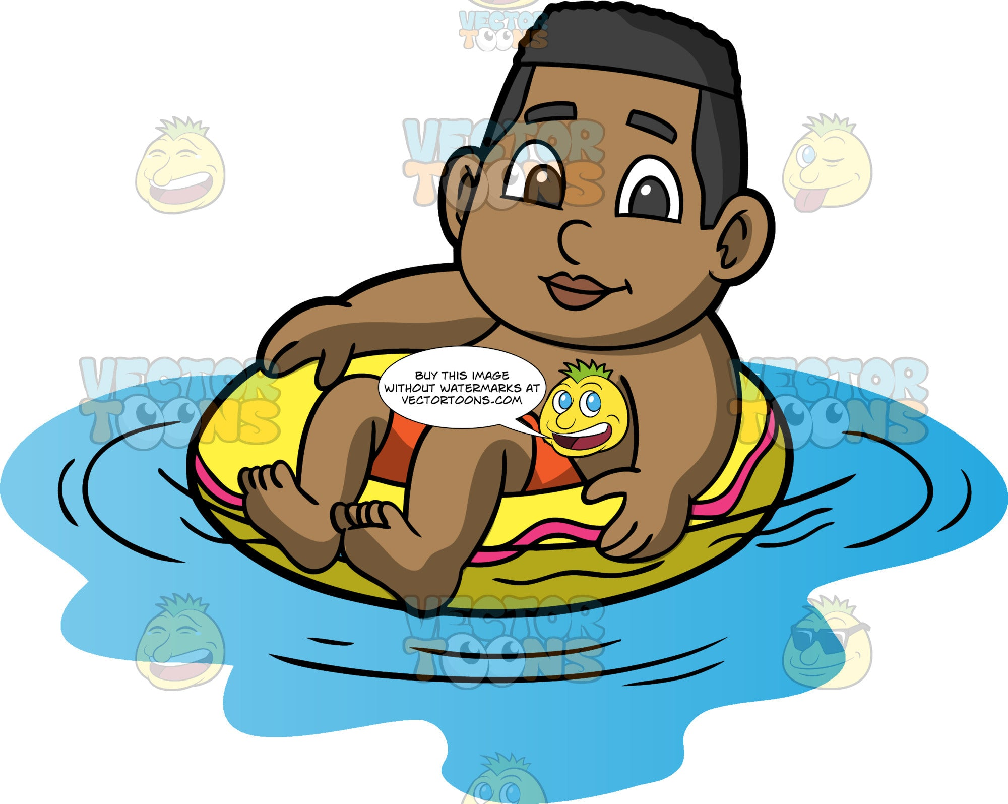 Young James Floating In The Water. A black boy wearing orange swim trunks sitting in a yellow swim ring and floating in a pool