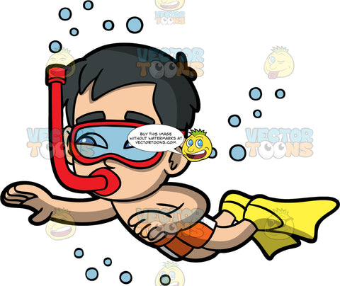 Young Kevin Swimming Underwater. An Asian boy wearing orange swim trunks, red goggles, and yellow flippers, swimming underwater with a snorkel in his mouth