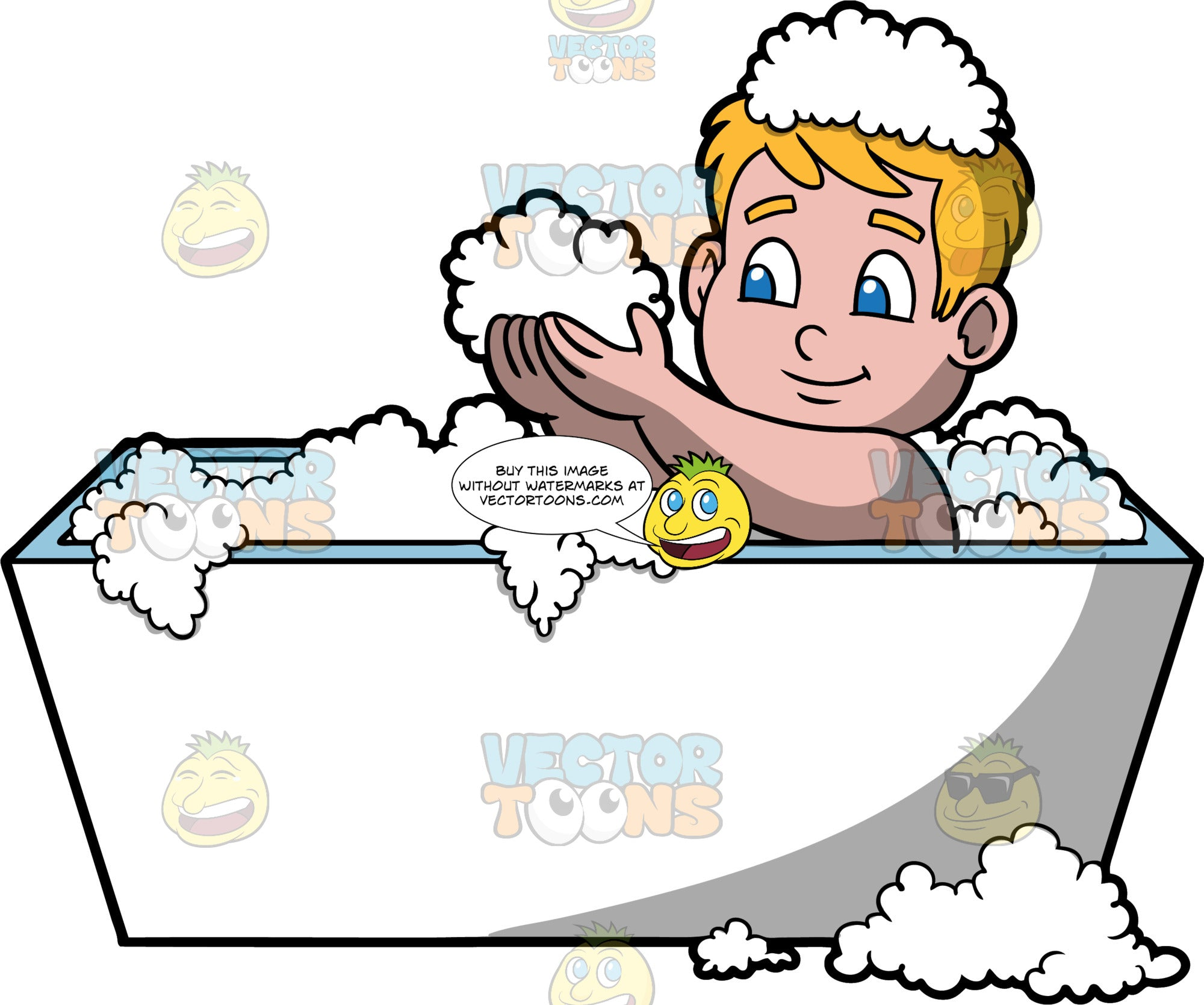 Young Sam Having Fun In The Tub. A boy sitting in a rectangular white bathtub filled with bubbles, holding a handful of bubbles in his hands