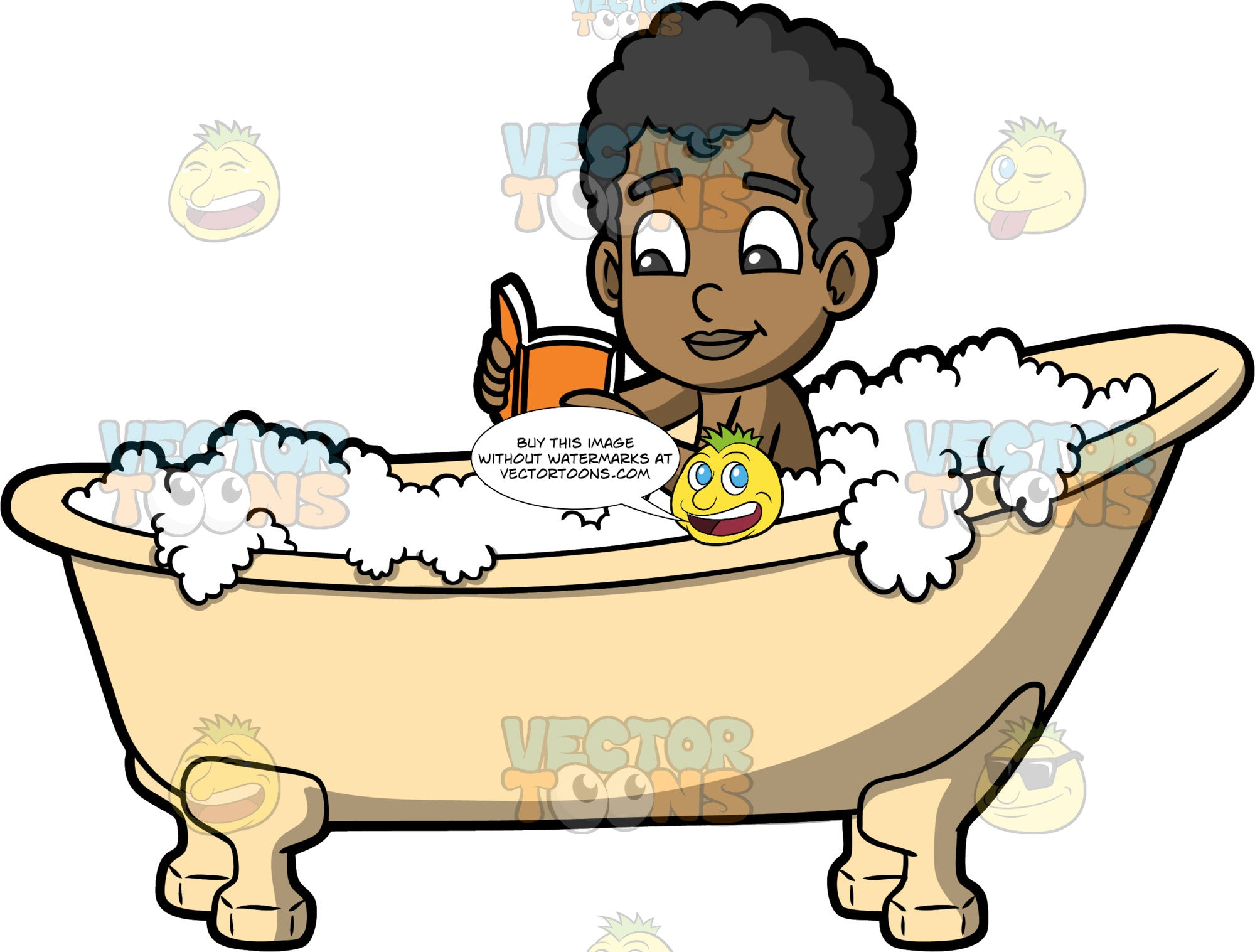 Young Jimmy Reading A Book In The Bathtub. A black boy sitting in a claw footed bathtub filled with bubbles and reading a book with an orange cover
